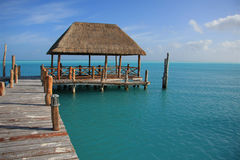 Caribbean dock. Beautiful dock in Caribbean tropical waters. Also available in vertical royalty free stock image