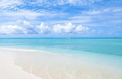 Caribbean dream with azure blue water and white sand coast stock images