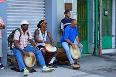 Caribbean band. The Caribbean drum band performs in the streets of Pointe-a-Pitre in Guadeloupe royalty free stock photography