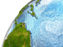 Caribbean on Earth. Caribbean highlighted in red with surrounding region. 3D illustration with highly detailed realistic planet surface and reflective ocean Royalty Free Stock Images