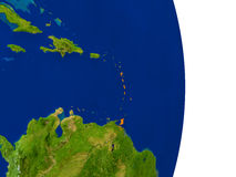 Caribbean on Earth. Map of Caribbean in red on planet Earth. 3D illustration with detailed planet surface. Elements of this image furnished by NASA Stock Images