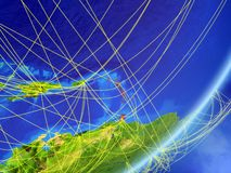 Caribbean on Earth with network. Caribbean on model of planet Earth with network at night. Concept of new technology, communication and travel. 3D illustration stock illustration