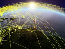 Caribbean on Earth with networks. Caribbean on planet Earth during dawn with international network representing communication, travel and connections. 3D vector illustration
