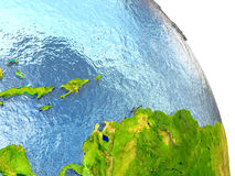 Caribbean on Earth in red. Caribbean in red with surrounding region. 3D illustration with highly detailed realistic planet surface. Elements of this image Stock Photo
