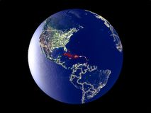 Caribbean on Earth from space vector illustration