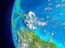 Caribbean on Earth from space. Map of Caribbean as seen from space on planet Earth with clouds and atmosphere. 3D illustration. Elements of this image furnished stock images