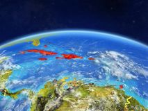 Caribbean on Earth from space. Caribbean on planet Earth with country borders and highly detailed planet surface and clouds. 3D illustration. Elements of this stock illustration