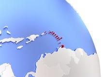 Caribbean on elegant globe. Map of Caribbean on elegant shiny globe. 3D illustration Stock Image