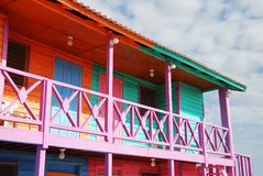 Caribbean Exterior. The wooden building painted in characteristic Caribbean bright colours in Mahahual resort town (Mexico Royalty Free Stock Image