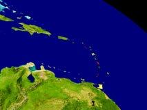 Caribbean with flag on Earth Royalty Free Stock Photos