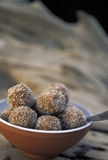Caribbean food: Tamarind balls. Made with sugar and hot chilli. Tobago, West Indies Stock Images