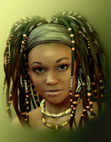 Caribbean Girl. Portrait of a young lady with dreadlocks Royalty Free Stock Images