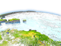 Caribbean on globe. Country of Caribbean on model of Earth. 3D illustration. Elements of this image furnished by NASA Royalty Free Stock Image