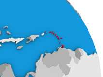 Caribbean on globe. Caribbean highlighted in red on simple globe with visible country borders. 3D illustration Stock Images