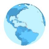 Caribbean on globe isolated Royalty Free Stock Photos