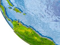 Caribbean on globe. Map of Caribbean in red on globe with real planet surface, embossed countries with visible country borders and water in the oceans. 3D Royalty Free Stock Photos