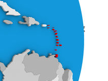 Caribbean on globe. Map of Caribbean in red on globe. 3D illustration Stock Photo