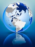 Caribbean on globe. Caribbean on political globe standing on reflective surface. 3D illustration stock image