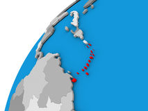 Caribbean on globe in red. Caribbean highlighted in red on globe with visible country borders. 3D illustration Stock Image