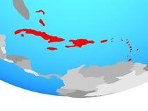 Caribbean on globe stock illustration