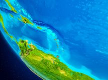 Caribbean on globe from space. Caribbean highlighted in red on planet Earth. 3D illustration. Elements of this image furnished by NASA Royalty Free Stock Image