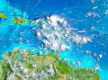 Caribbean in red on Earth. Caribbean highlighted in red on planet Earth. 3D illustration. Elements of this image furnished by NASA Royalty Free Stock Image