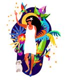 Caribbean holiday women. Caribbean island tropical flowers,leaves and bird hand drawn colorful.Young girl in white dress Stock Image