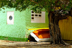 Caribbean house. Colorful house of a fisherman, Bonaire, Caribbean royalty free stock photography