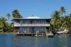 Caribbean house over the sea Royalty Free Stock Photography