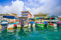 CARIBBEAN HOUSE WATER. BOCAS, PANAMA - APRIL 15, 2015: Houses on the shore of the island of Colon in Bocas del Toro which is the capital of the province of the Stock Photo