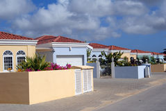 Caribbean houses. Street of new homes in Bonaire, Western Caribbean Royalty Free Stock Images
