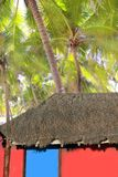Caribbean hut red  house coconut palm trees Royalty Free Stock Image
