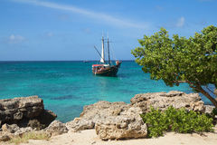 The Caribbean. The Island Of Aruba. Sailboat. Stock Images