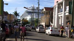 Caribbean Island tourism, with cruise ship stock video