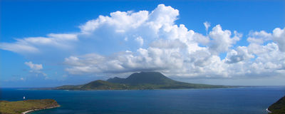 Caribbean island of Nevis. View of the Caribbean island Nevis from neighboring St Kitts Stock Image