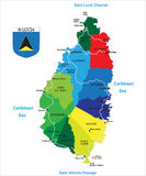 Caribbean island of Saint Lucia map. Highly detailed vector map of the caribbean island of Saint Lucia with main cities,regions and roads Stock Images
