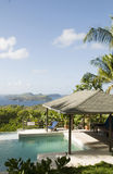 Caribbean island villa pool with lovely view Stock Photos