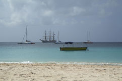 The Caribbean Islands. Barbados. The best beaches are on the West coast, and the Eastern and southern coast is popular for Windsurfing and diving Royalty Free Stock Images