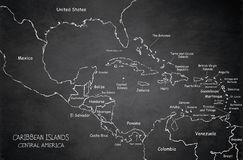 Caribbean islands Central America map blackboard chalkboard. Caribbean islands Central America map, state names, separate states, blackboard chalkboard vector Stock Image
