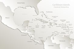 Caribbean Islands Central America Map Card Paper 3D Natural Royalty Free Stock Photo