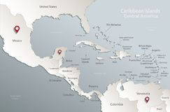 Caribbean islands Central America map card blue white 3D. Caribbean islands Central America map, state names, separate states, card blue white 3D vector vector illustration