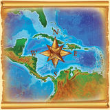 Caribbean islands map. Old color caribbean islands map Stock Images