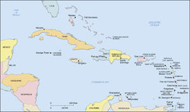 Caribbean Islands Map. Caribbean region map showing countries. Countries, capital cities and water bodies are labeled. Land areas have a slight drop shadow royalty free illustration