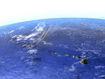 Caribbean islands on realistic model of Earth. Caribbean islands on model of Earth. 3D illustration with realistic planet surface. Elements of this image Stock Images