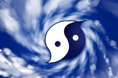 CARIBBEAN ISLANDS, 19 September 2017 - Hurricanes: The bad and the good. Digital Illustration of a Ying Yang symbol Hurricane. The power of the devastation and Stock Photography