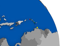 Caribbean and its flag on globe. Political map Caribbean with national flag symbol embedded into the country. 3D illustration Royalty Free Stock Images