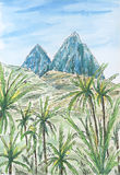 Caribbean Leeward Antilles landscape with two mountain peaks. Ink and watercolor on rough paper Stock Photo