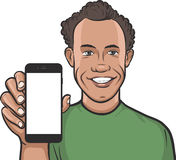 Caribbean man showing a mobile app on a smart phone Royalty Free Stock Photography