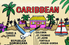Caribbean map. A funny map of caribbean islands royalty free stock photo