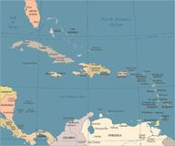 The Caribbean Map - Vintage Vector Illustration. The Caribbean Map - Vintage Detailed Vector Illustration Stock Image